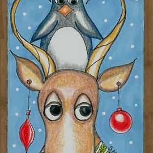 Art: Rudolph and Pengy by Artist Sherry Key