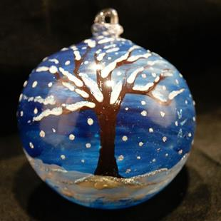 Art: #17 Winter Tree Dragonfly Ball 2011 by Artist Rebecca M Ronesi-Gutierrez