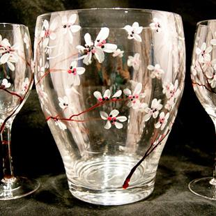 Art: Wine Glass Set w/ Cooler Cherry Blossoms #1 by Artist Rebecca M Ronesi-Gutierrez