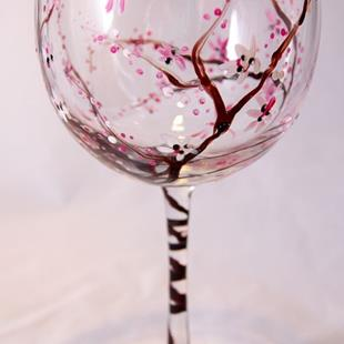 Art: Cherry Blossom Red Wine Glass #2 by Artist Rebecca M Ronesi-Gutierrez
