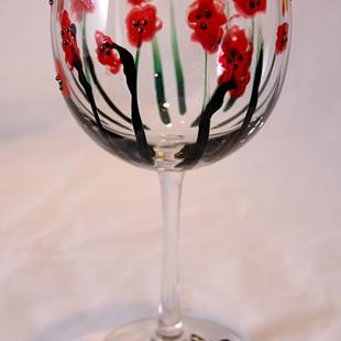 Art: Abstract Poppies Red Wine Glass #3 by Artist Rebecca M Ronesi-Gutierrez