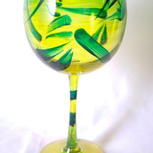 Art: Lemon Lime Red Wine Glass #5 by Artist Rebecca M Ronesi-Gutierrez