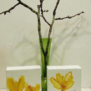 Art: Two Yellow Flower paintings. by Artist Windi Rosson