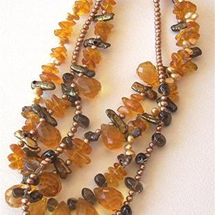 Art: Pearl Citrine and Amber necklace by Artist Ulrike 'Ricky' Martin