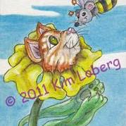 Art: Bumble Bee Mouse & the Cat Sun Flower by Artist Kim Loberg