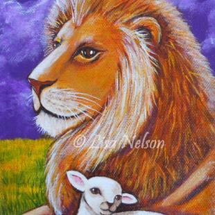 Art: The Lion and the Lamb Painting by Artist Lisa M. Nelson
