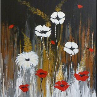 Art: ORIGINAL ABSTRACT PAINTING WITH FLOWER - SOLD by Artist Nataera