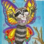 Art: Hello World - Freshly Hatched Raccoon Butterfly SOLD by Artist Kim Loberg
