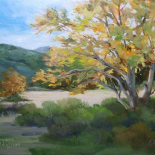 Art: Blustery Day Sycamore Eaton Canyon oil painting by Karen Winters - SOLD by Artist Karen Winters