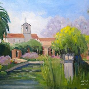 Art: San Juan Capistrano Mission Fountain oil painting by Karen Winters by Artist Karen Winters