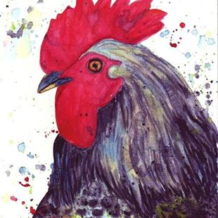 Art: Rooster Portrait by Artist Ulrike 'Ricky' Martin