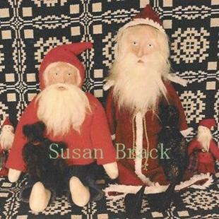 Art: Hand Sculpted Papier Mache Head Christmas Santa Dolls by Artist Susan Brack
