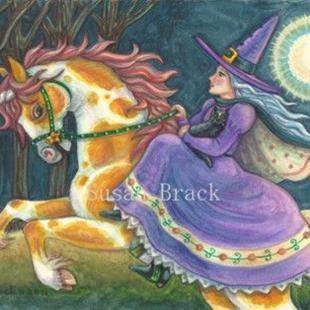 Art: HALLOWS EVE RIDE ON A PUMPKIN PINTO by Artist Susan Brack