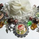 Art: VINTAGE ANTIQUE EPHEMERA~flowers and birds~ Altered Art Charm Bracelet OOAK by Artist Lisa  Wiktorek