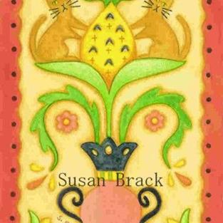 Art: FRAKTUR CATS AND PINEAPPLE by Artist Susan Brack