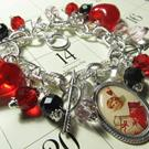 Art: Vintage Valentine Post Card Altered Art Charm Bracelet by Artist Lisa  Wiktorek