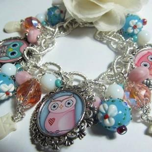 Art: Woodland Owls,  Altered Art Charm Bracelet , ooak by Artist Lisa  Wiktorek