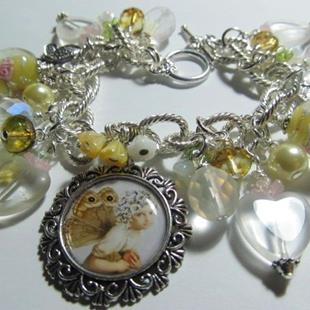 Art: Butterfly Fairy in Yellow Altered Art Charm Bracelet by Artist Lisa  Wiktorek