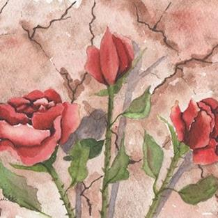 Art: Roses by old wall by Artist Melanie Pruitt
