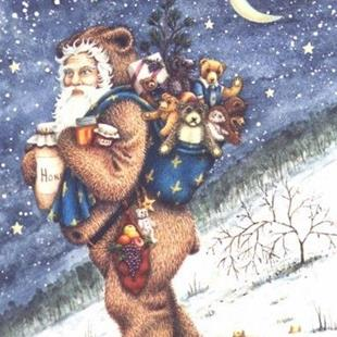 Art: Evergreen Press BEAR TRACKS  Card by Artist Susan Brack