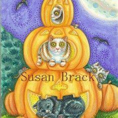 Art: Dover Pub. PUMPKIN CATS by Artist Susan Brack