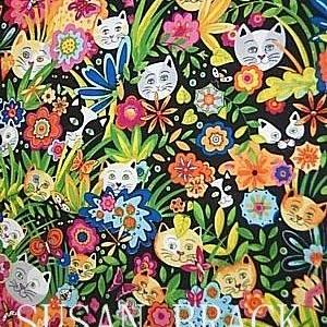Art: P & B Textiles  CATS SECRET GARDEN Fabric Collection Blk Background by Artist Susan Brack