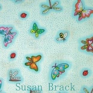 Art: P & B Textiles  CATS SECRET GARDEN Fabric Collection BUGS Light Blue by Artist Susan Brack