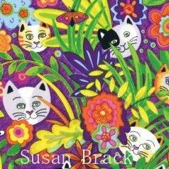 Art: P & B Textiles CATS SECRET GARDEN Fabric Collection Purple Background by Artist Susan Brack