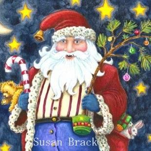 Art: Limited Treasures  CHIMNEY TOP SANTA Crop by Artist Susan Brack