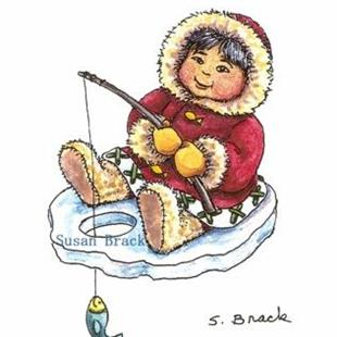 Art: MBI  Preliminary Sketch ESKIMO BOY ICE FISHING by Artist Susan Brack