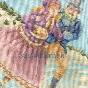 Art: Needlepointfriendzi VICTORIAN SKATERS Detail Christmas Stocking by Artist Susan Brack