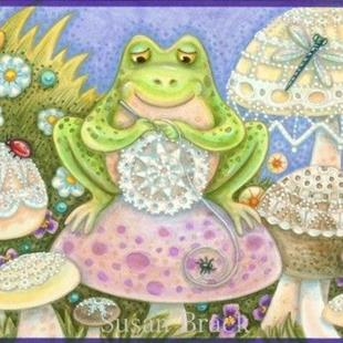 Art: Inside : DOILIES MAKE A HOPPY HOME   Card by Artist Susan Brack