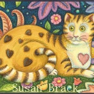 Art: Folk Art Series : HEARTS N' STRIPES TABBY    Note Card by Artist Susan Brack