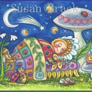 Art: Ladybug Series : LADYBUG DREAMS   Note Card by Artist Susan Brack