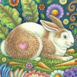 Art: Folk Art Series: MIDSUMMER HARE    Note Card by Artist Susan Brack