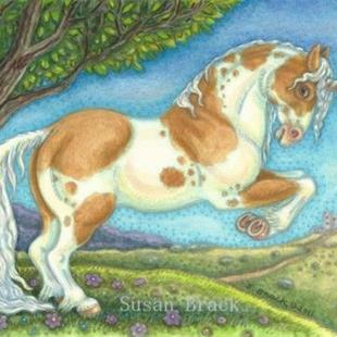 Art: Unicorn Series : UNICORN STALLION     Blank Note Card by Artist Susan Brack