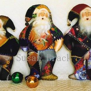 Art: Primitive CRAZY QUILT BELSNICKLE Santa DOLLS by Artist Susan Brack