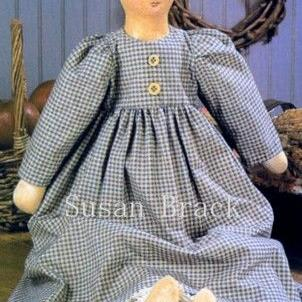 Art: RACHEL Primitive Folk Art Doll by Artist Susan Brack
