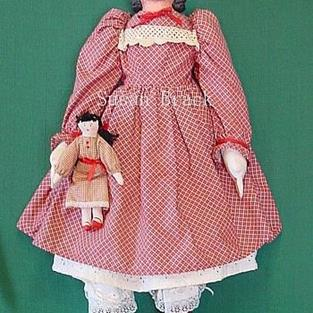 Art: FAITH Primitive Country Folk Art Doll by Artist Susan Brack