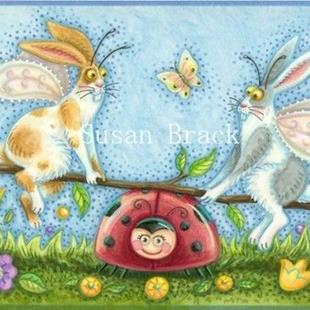 Art: Hiss N' Fitz Series - FLUTTERBUNS ON LADYBUG SEESAW    Blank Note Card by Artist Susan Brack
