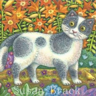 Art: Folk Art Series - FUZZY WUZZY   Blank Note Card by Artist Susan Brack
