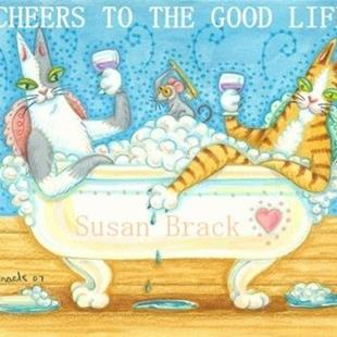 Art: Hiss N' Fitz Series - CHEERS TO THE GOOD LIFE  Card by Artist Susan Brack