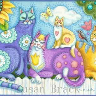 Art: WHISKERS AND PURRS  Blank Note Card by Artist Susan Brack