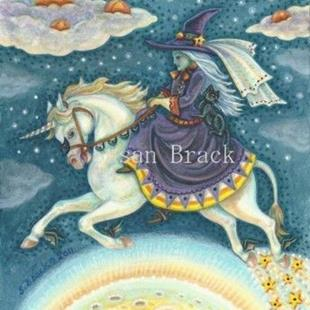 Art: Halloween: WHEN WITCHES RIDE AND PUMPKINS FLY Happy Hallows Eve  Card by Artist Susan Brack