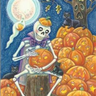 Art: Halloween : IT'S TIME TO CARVE YOUR PUMPKIN  Happy Halloween!   Card by Artist Susan Brack