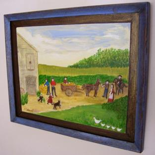 Art: Harvesting the Pumpkins (Sold) by Artist Fran Caldwell