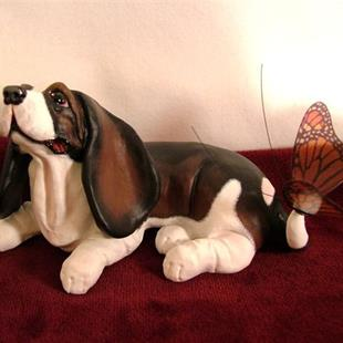 Art:  Tri-Color Basset & Butterfly by Artist Camille Meeker Turner