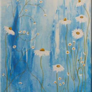 Art: ORIGINAL ABSTRACT PAINTING WITH FLOWER by Artist Nataera