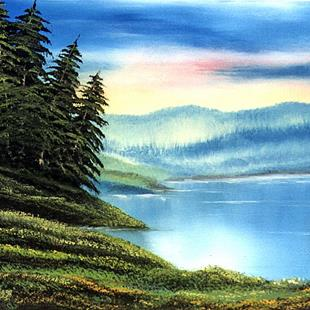Art: Lakeside Pines by Artist Deanne Flouton