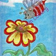 Art: Bumble Bee Mouse & the Sweetheart Flower by Artist Kim Loberg